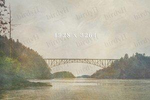 bridge and landscape in autumn