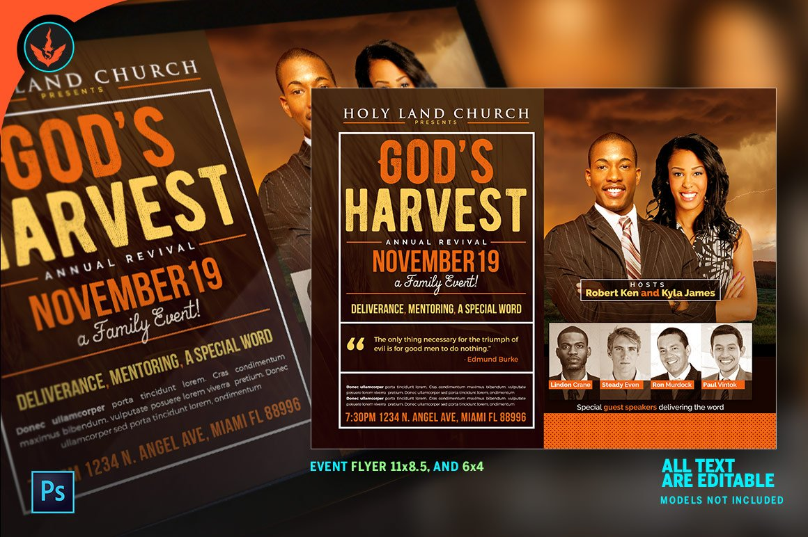 god s harvest revival flyer flyer templates on creative market