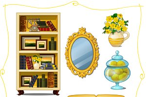 Yellow furniture in classical style