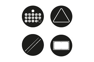 Billiard. 4 icons set. Vector