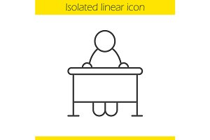 School student linear icon. Vector