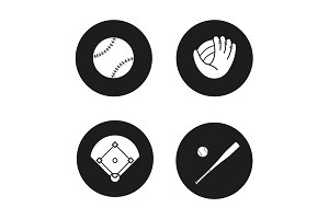 Baseball. 4 icons set. Vector