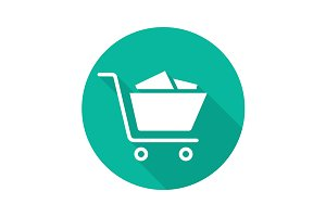 Shopping cart with boxes. Vector