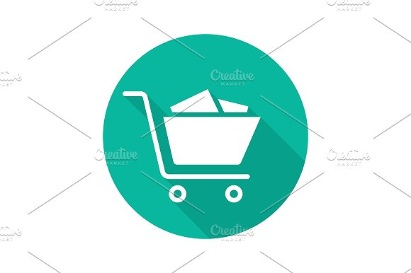 Shopping cart with boxes. Vector - Icons