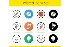 Sport balls. 12 icons. Vector