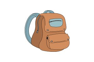School backpack color icon. Vector