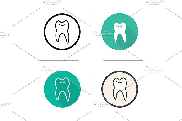 Tooth. 4 icons. Vector - Icons