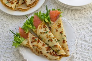 Crepes with salmon