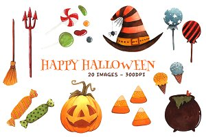 Watercolor Halloween Clipart Items