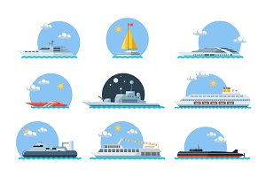 Set of sea ships.