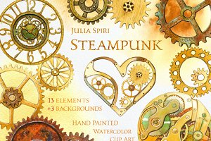 Steampunk. Watercolor Clip Art