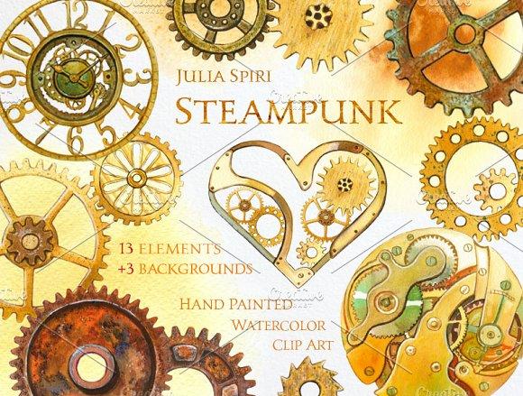 Steampunk. Watercolor Clip Art