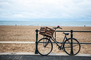 Old style bicycle with basket