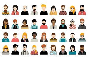 Big set of avatars people heads.