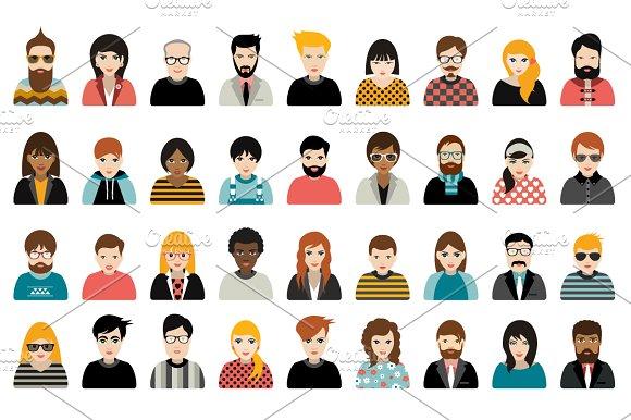 Big set of avatars people heads.