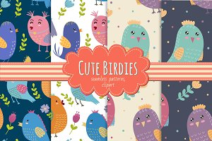 Cute Birdies: patterns&clipart