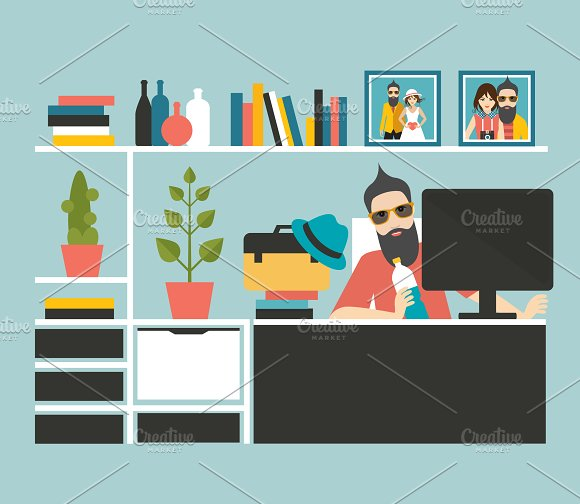Freelancer. Man at wor office.  - Illustrations