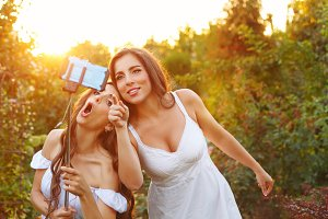 Two sisters make selfie