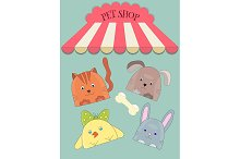 Pet Shop Poster with cute animals