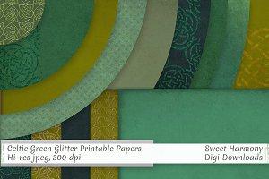 Celtic Green Glitter Knotwork Paper
