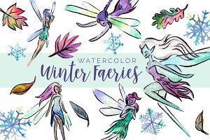Winter Faeries Watercolor Clipart