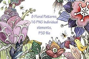 Watercolor Floral Patterns+Set