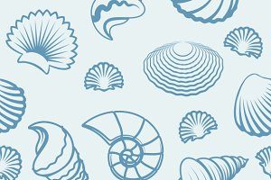 Sea shell hand drawn pattern