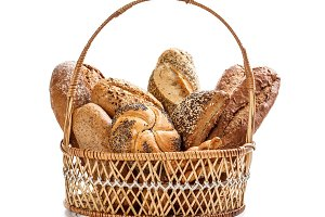 Bread in wicker basket
