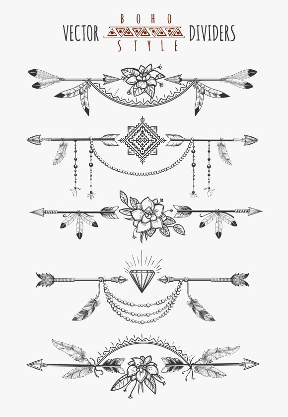 Arrow feather page dividers Graphics