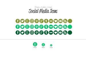 Green Glitter Social Media Icons