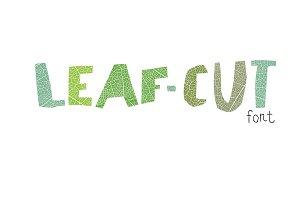Leaf cut font. Cut-out shape