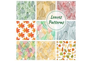 Foliage seamless decorative patterns