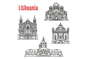 Lithuania landmark icons