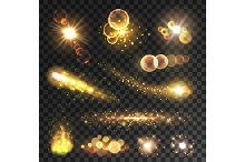 Golden sparkling light trails