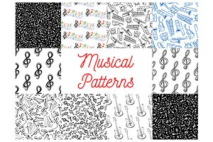 Musical notes, instruments patterns