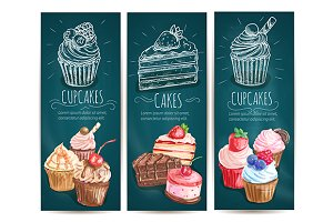 Cupcakes, cakes vertical banners