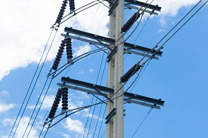 Power poles with wires