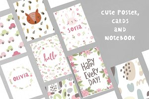 Cute poster cards notebook
