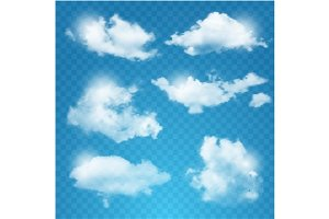 Set of transparent different clouds