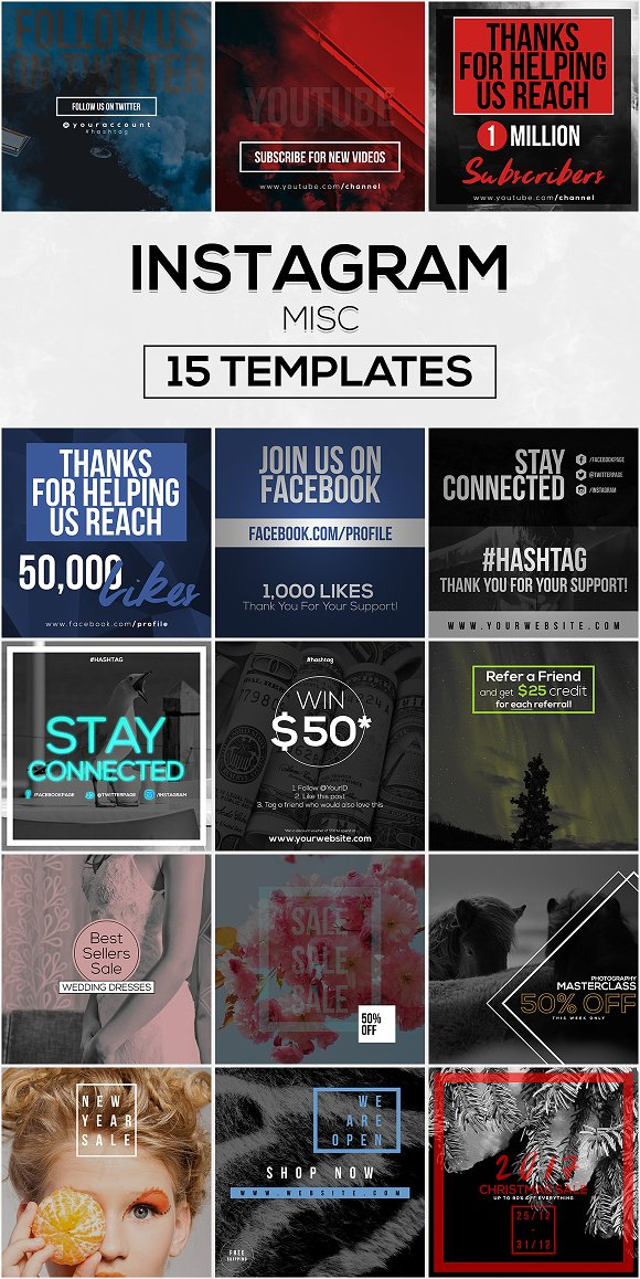 15 Instagram Templates vol.12: Misc