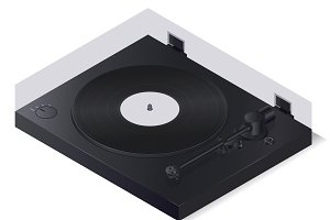 Isometric modern vinyl player