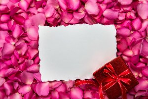 Empty card with love gift box