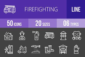 50 Firefighting Line Inverted Icons