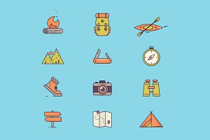 Travel and vacation line icons.