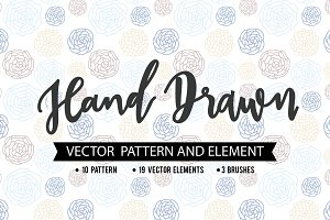 FLORAL VECTOR PATTERN AND BRUSHES