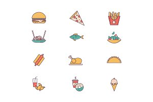 Food and beverages line icons.