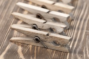 Old wooden clothes pins