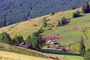 Summer Carpathian mountain village