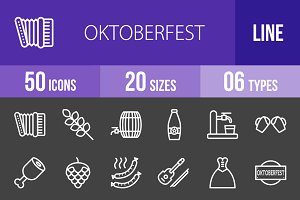50 Oktoberfest Line Inverted Icons