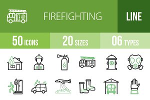 50 Firefighting Line Green Icons